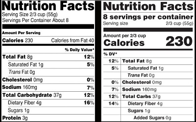 Old vs New Nutrition Labels