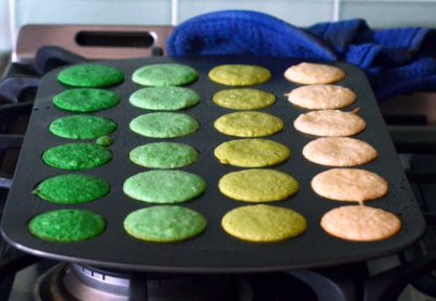 Mini St Patrick's Day Ombre Cake Layers, baked
