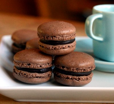 Dark Chocolate Coffee Macarons