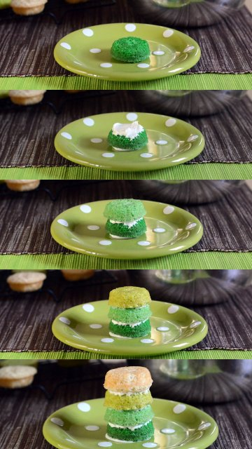 Mini St Patrick's Day Ombre Cake construction