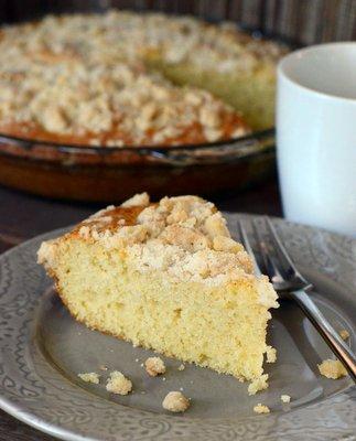Vanilla Crumb Cake, sliced