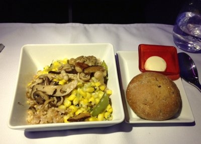 Farro Risotto with Spring Succotash on Virgin America