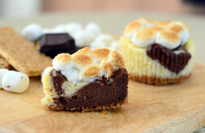 S'mores Mini Cheesecakes, cut in half