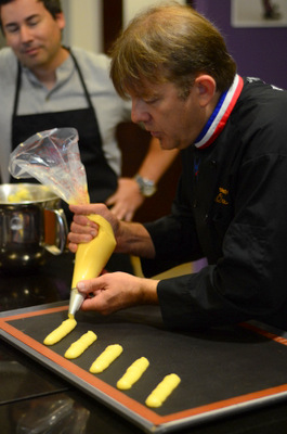 MOF Stephane Treand during Eclair Class at The Pastry School