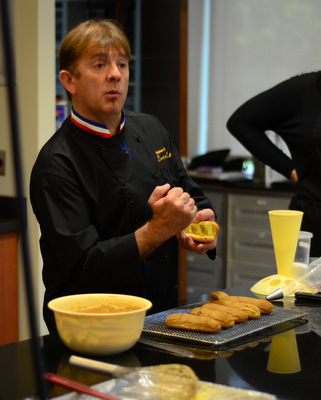 Chef Stephan Treand during an Eclair Demonstration