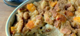 Spiced Peaches n' Cream Bread Pudding