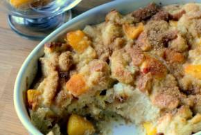 Spiced Peaches n' Cream Bread Pudding
