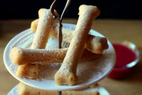 "Cinnamon Cookie Bones and ""Blood"" Dipping Sauce"