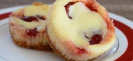 Mini Cherry Swirl Cheesecakes