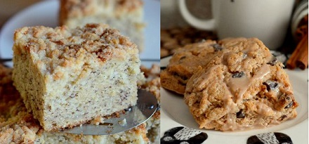 Banana Cake and Cinnamon Scones