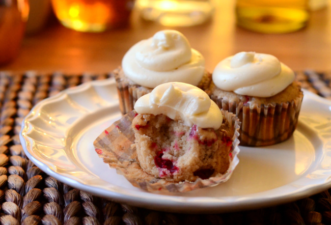 Bourbon Spice Cupcakes with Cranberries