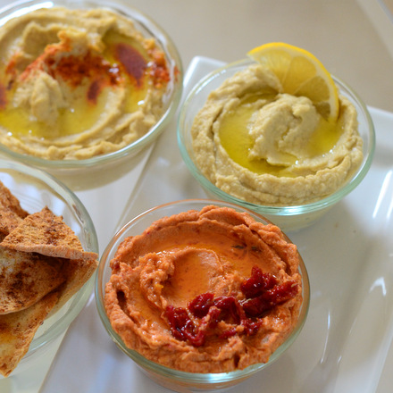 Homemade Hummus, Three Ways