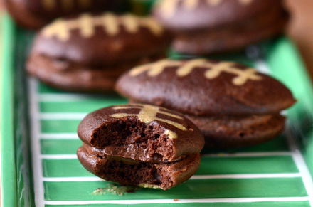 Chocolate Football Whoopie Pies