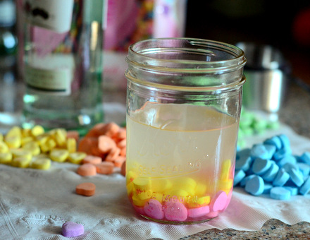 Conversation Heart Rum, in progress