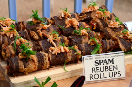 Blue Ribbon Reuben Spam Roll-Ups