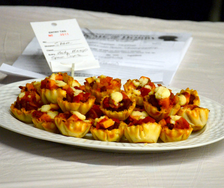 Second Prize Winner: Chorizo Spam Mini Tarts with Mango Salsa
