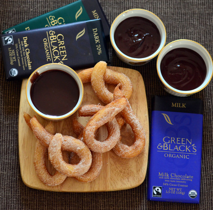 Cinnamon Churros with a Trio of Decadent Organic Chocolate Dipping Sauces