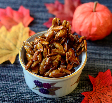 Sweet & Spicy Candied Pumpkin Seeds