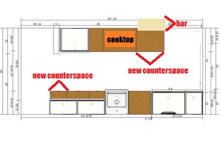 New Kitchen Layout, Overhead (with notes)