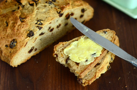 Cinnamon Raisin Irish Soda Bread with Irish Butter