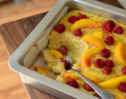 Yellow Cake Baked Oatmeal with Raspberries & Nectarines