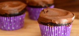 Sour Cream Chocolate Cupcakes with Dark Chocolate Sour Cream Frosting