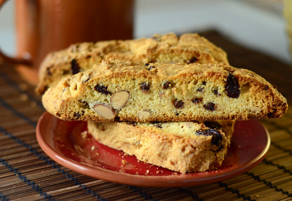 Cherry Almond Biscotti with Chocolate Chips