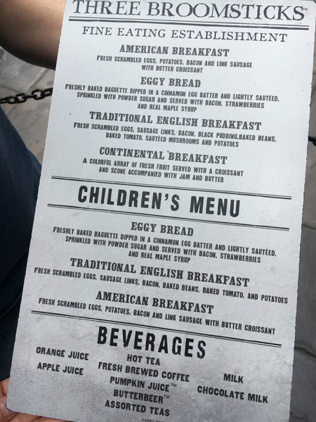Breakfast Menu at The Three Broomsticks