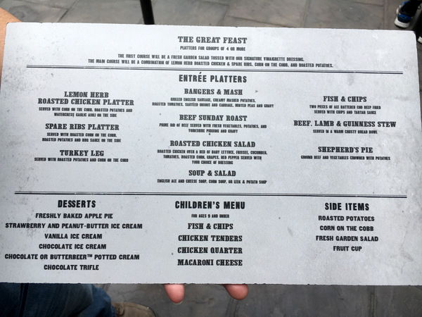 Lunch Menu at The Three Broomsticks