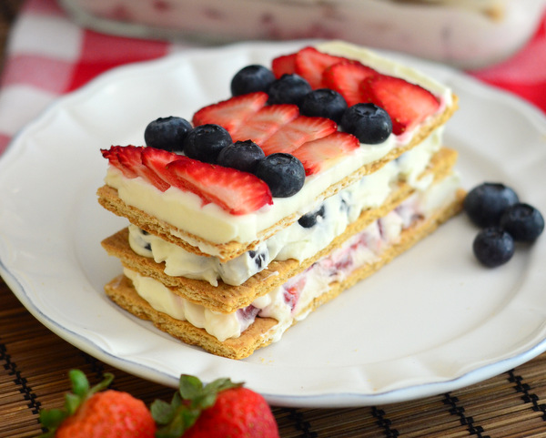 Red, White & Blue Berry Icebox Cake