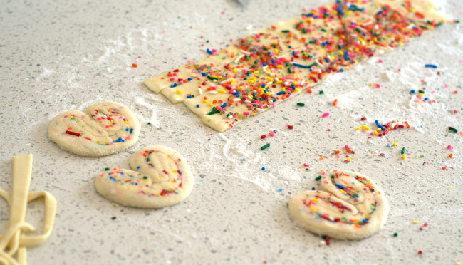 How to Make Rainbow Sprinkle Palmiers