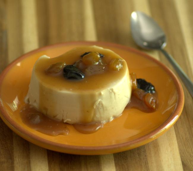 Sweet Sherry Panna Cotta with Caramel Raisin Sauce