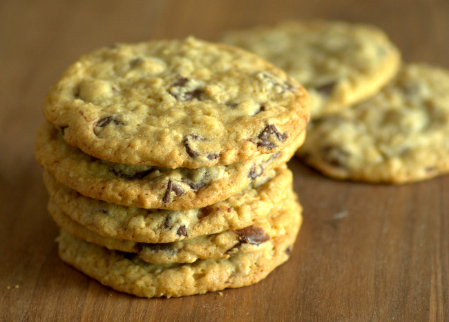 Thin, Chewy Chocolate Chip Oatmeal Cookies