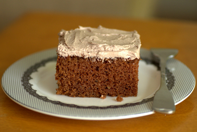 Old Fashioned Chocolate Sheet Cake with Mocha Frosting