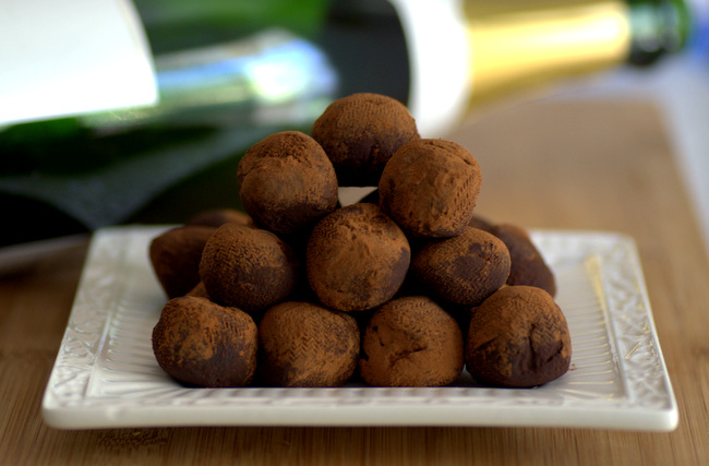 Dark Chocolate Champagne Truffles