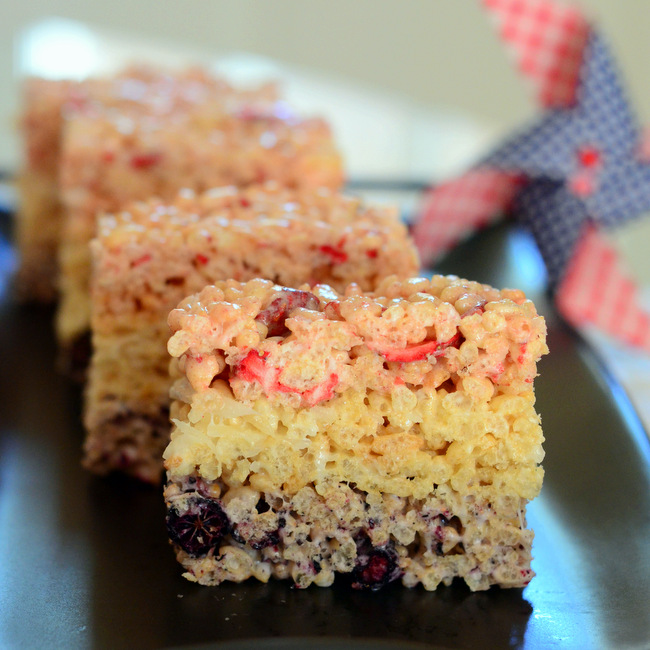 All Natural Red, White and Blue Rice Krispy Treats