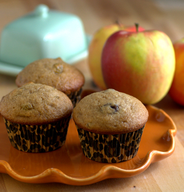 Applesauce Spice Muffins with Pecans and Raisins