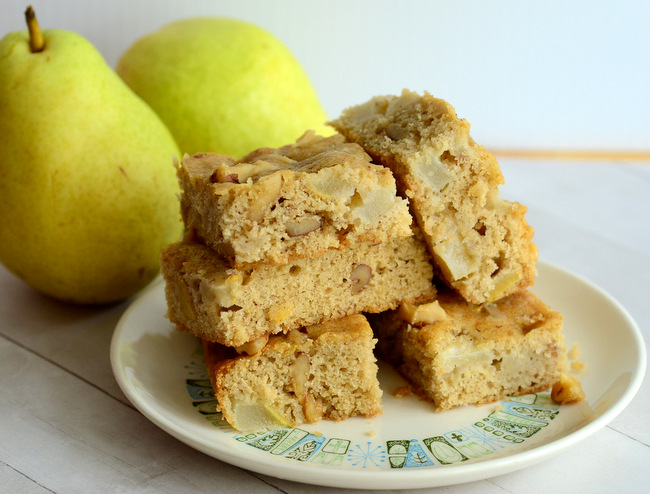 Maple Pear Snack Cake with Walnuts