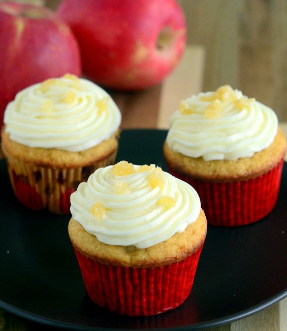 Brown Sugar Apple Cupcakes with Candied Ginger