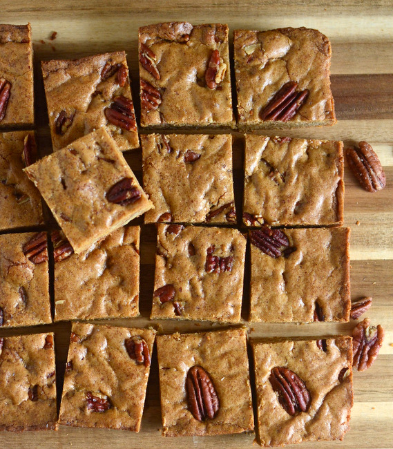 Salted Whole Wheat Butterscotch Blondies with Pecans