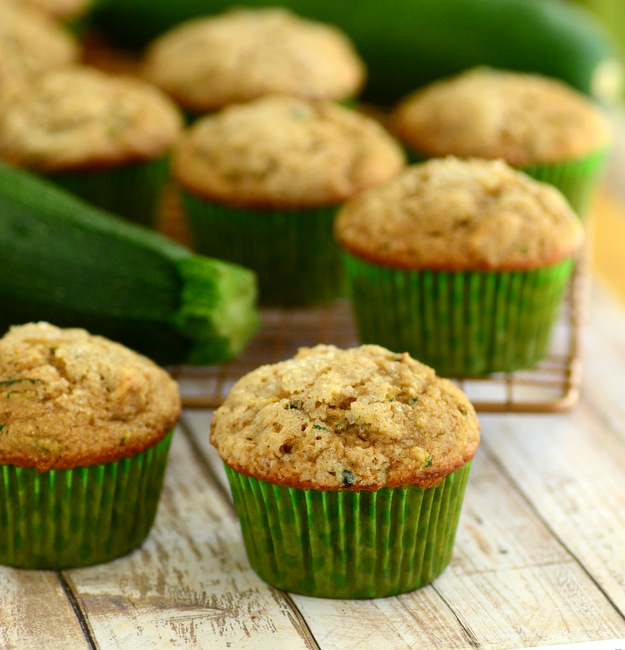 Whole Wheat Zucchini Muffins with Walnuts