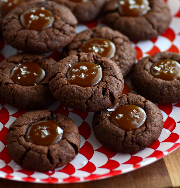 Salted Caramel Chocolate Thumbprint Cookies