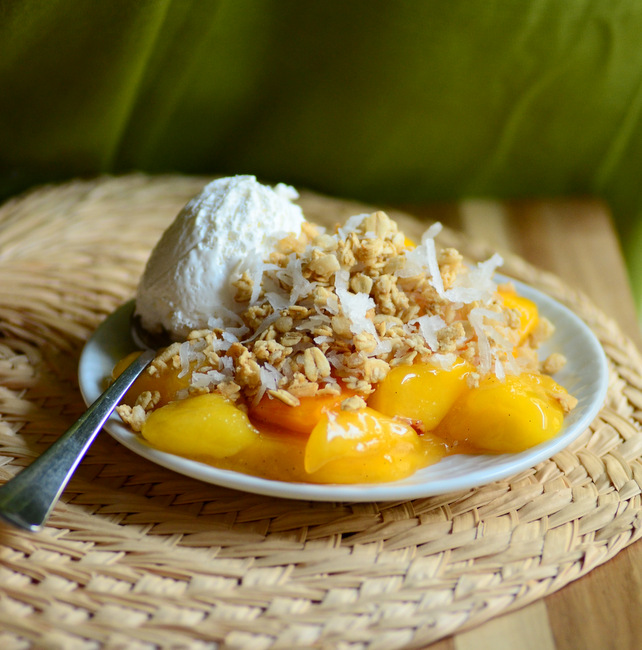 Skillet Peach and Mango Cobbler