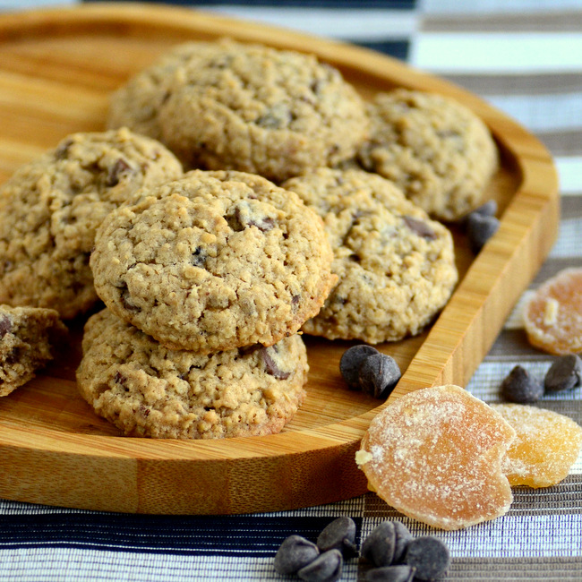 Candied Ginger and Chocolate Chip Oatmeal Cookies
