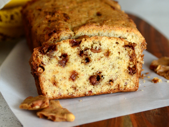 Peanut Brittle Banana Bread