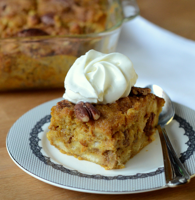 Pumpkin Spice and Pecan Bread Pudding
